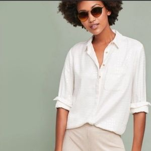 Anthropologie Sequined Button Down Ivory Shirt NWT